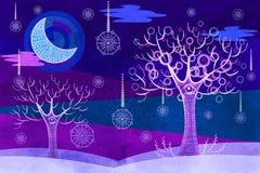 Surreal winter landscape in purple color Stock Photo
