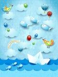 Surreal zeegezicht met document boot, ballons, vogels en vliegende vissen stock illustratie