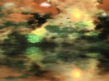 Surreal zonsondergang stock illustratie