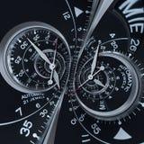 Surreale Doppeltspirale futuristischen modernen schwarzen silbernen Uhruhr-Zusammenfassung Fractal Ungewöhnliches abstraktes Besc vektor abbildung