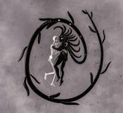 Surreale Fantasie-Frau mit einem Skelett lizenzfreie abbildung