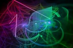 Surreale Fantasiemagie der abstrakten digitalen Fractalglanzexplosionsoberflächendekoration, dynamisch, Überlagerungsentwurf futu vektor abbildung