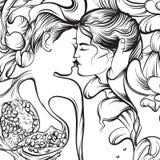 Surreale Illustration des Vektors mit dem Küssen von Liebhabern Stockbilder