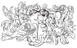 Surreale Illustration des Vektors mit dem Küssen von Liebhabern Stockfoto
