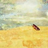 Surreale Landschaft mit ausgesetztem Wüstenreihenboot stockfotos