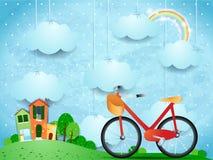Surreale Landschaft mit hängenden Wolken, Häusern und Fahrrad Lizenzfreie Stockfotos