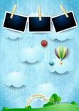 Surreale Landschaft mit Regen, Ballonen und Fotorahmen Lizenzfreie Stockbilder