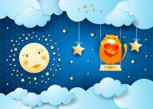 Surreale Nacht mit Mond, Schwingen und Katze Lizenzfreies Stockfoto