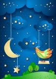 Surreale Nacht mit Mond, Schwingen und Vogel Stockfotografie