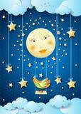 Surreale Nacht mit Vollmond, Schwingen und buntem Vogel Stockbild