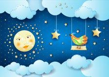Surreale Nacht mit Wolken, Schwingen und Vogel Stockbild