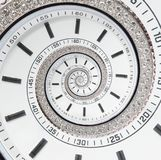Surreale Spirale futuristischen modernen weißen Uhruhr-Zusammenfassung Fractal Passen Sie Beschaffenheitsmuster Fractalhintergrun lizenzfreie stockfotos
