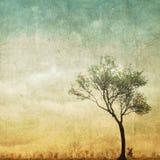 Surrealer einzelner Baum auf bewölktem Himmel mit Kopienraum Stockfotos