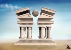Surrealer griechischer Tempel lizenzfreie abbildung