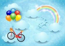 Surrealer Himmel mit Wolken, Regenbogen und hängendem Fahrrad Lizenzfreie Stockbilder