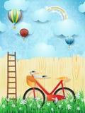 Surrealer Hintergrund mit Ballonen, Treppe und Fahrrad Stockfotos