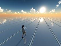 Surrealer Horizont der Geschäftsfrau Lizenzfreie Stockbilder