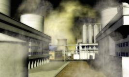 Surreales Industriegebiet Stockbild
