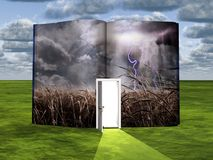 Field. Surrealism. Book with opened door and field Royalty Free Stock Images