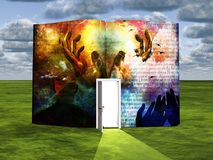 Creation. Surrealism. Book with opened door latin text and hands. Human elements were created with 3D software and are not from any actual human likenesses Stock Images