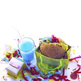 Surrealism Festive composition drinks snacks holiday hamburger cookie tinsel confetti gift box cocktail saturated colors. Children's holiday birthday stock image