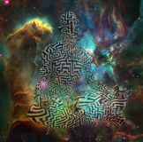 Meditation. Surrealism. Figure of man with maze pattern in lotus pose in flames. 3D rendering. Some elements provided courtesy of NASA Stock Images