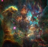 Meditation. Surrealism. Figure of man with maze pattern in lotus pose in flames. 3D rendering. Some elements provided courtesy of NASA Royalty Free Stock Photos