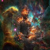 Meditation. Surrealism. Figure of man with maze pattern in lotus pose in flames. Some elements provided courtesy of NASA. Human elements were created with 3D Royalty Free Stock Photography