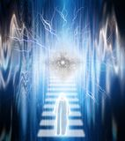 To the God. Surrealism. Figure in white cloak goes on a stairway to the God`s eye. Human elements were created with 3D software and are not from any actual human royalty free illustration