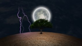 Green tree in arid land. Surrealism. Green tree in arid land. Full moon and lightning in night sky vector illustration