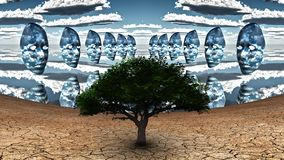 Masks. Surrealism. Green tree in arid land. Masks hovers in the cloudy sky. Human elements were created with 3D software and are not from any actual human stock illustration