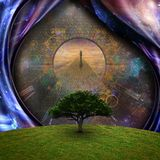 Soul journey. Surrealism. Green tree. Man on a stone road. Some elements image credit NASA Royalty Free Stock Photography