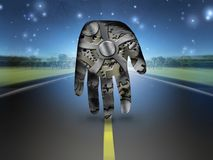 Chronos. Surrealism. Human`s palm with clock gears on a road Royalty Free Stock Photography