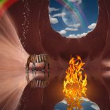 Magic Flame. Surrealism. Red rock cave with fire and striped horse. Rainbow and moon in the sky. Some elements image credit NASA Stock Photography