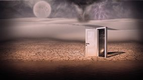 Portal. Surrealism. Storm in white desert. White door is a portal to another world on a seashore. Some elements image credit NASA stock image