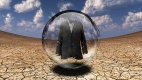 Suit. Surrealism. Suit in bubble. Arid land Stock Photos