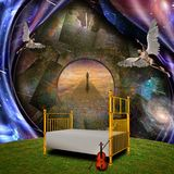 Fate. Surrealism and symbolism. Angels, bed and violin. Lonely man on a stone road. Some elements credit NASA. Human elements were created with 3D software and Stock Photos