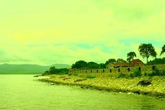 Surrealism vivid seascape coastline. Unity with nature Royalty Free Stock Photography