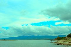 Surrealism vivid seascape coastline. Unity with nature Stock Photo