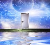 White door. Surrealism. White door symbolizes portal to another dimension. Some elements image credit NASA Stock Image