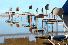 Surrealistic chairs in the old abandoned pool Stock Photo
