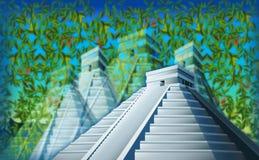 Surrealistic Chichen Itza in the jungle Royalty Free Stock Image