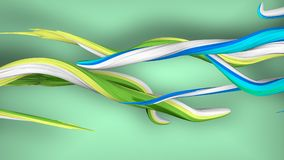 3D Swirling Strokes Moving in a Spiral Way. A surrealistic 3d illustration of twirling strokes in the green background. They are two groups of them. One of them Stock Image