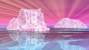 Surrealistic icebergs Stock Photography