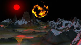 Surrealistic landscape (Two moon). Sharp tops of mountains are covered with snow. In lowlands dark lakes. The red moon fills in with the light a landscape. In stock video footage
