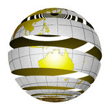 Surrealistic peeling globe Earth 3D. A unique and special isolated striped planet Earth with matte gold and sandblasted silver finishes. Both country map and Royalty Free Stock Images
