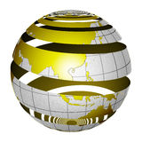 Surrealistic peeling globe Earth 3D. A unique and special isolated striped planet Earth with matte gold and sandblasted silver finishes. Both country map and Royalty Free Stock Image