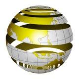 Surrealistic peeling globe Earth 3D Royalty Free Stock Image