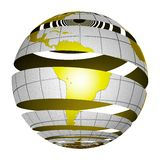 Surrealistic peeling globe Earth 3D Royalty Free Stock Images