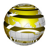 Surrealistic peeling globe Earth 3D. A unique and special isolated striped planet Earth with matte gold and sandblasted silver finishes. Both country map and Stock Photos